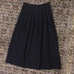 Talbots Vintage Pleated Moire Black Long Skirt 14
